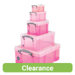 Really Useful Storage Box Plastic Pink Set Of 5 07L 16L 3L 9L 18L