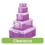 Really Useful Storage Box Plastic Purple Set Of 5 07L 16L 3L 9L 18L
