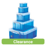 Really Useful Box polypropylene plastic storage box 70 litre big value five boxes in one deal in blue