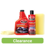 A great value car care kit comprising of a sponge soap a microfibre cloth and wax