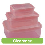 Set of 3 pink lunch boxes