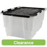 Strata Duracrate Plastic Storage Box 40 Litre Clear With Black Lid