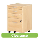Real maple wood veneer mobile three drawer filing pedestal
