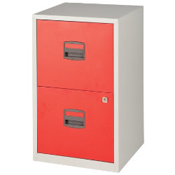 Bisley 2 Drawer Filing Cabinet Red Grey 672H x 413W x 400D mm
