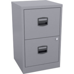 Bisley 2 Drawer Filing Cabinet Light Grey 672H x 413W x 400D mm