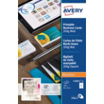 Avery Mono Laser Business Cards C32011 25 A4 200gsm White 25 Sheets