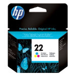 Original HP No22 tri colour cyan magenta yellow printer ink cartridge C9352AE