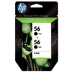 Original HP No56 black printer ink cartridge twinpack C9502AE