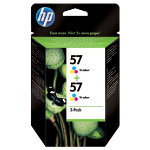 Original HP No57 tri colour cyan magenta yellow printer ink cartridge twinpack C9503AE