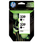Original HP No339 black printer ink cartridge twinpack C9504EE