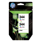Original HP No344 colour printer ink cartridge twinpack C9505EE