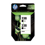 Original HP No338 black printer ink cartridge twinpack CB331EE