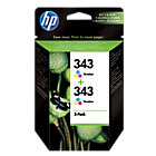 Original HP No343 tri colour cyan magenta yellow printer ink cartridge twin pack