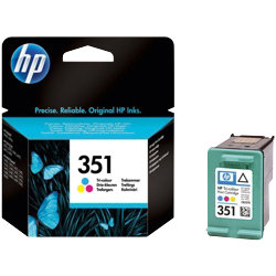 Original HP No.351 tri-colour (cyan magenta yellow) printer ink cartridge CB337EE