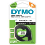 DYMO Letratag Labels 91200 12 mm x 4 m Black White