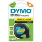 Dymo Letratag Label Plastic Yellow 12mm x 4m