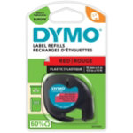 Dymo Letratag Label Plastic Red 12mm x 4m
