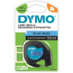 Dymo Letratag Label Plastic Blue 12mm x 4m