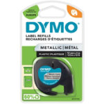 Dymo Letratag Label Plastic Metallic Silver 12mm x 4m