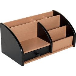 Wooden Desk Organiser Black