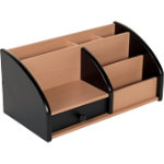 Wooden desk organiser black