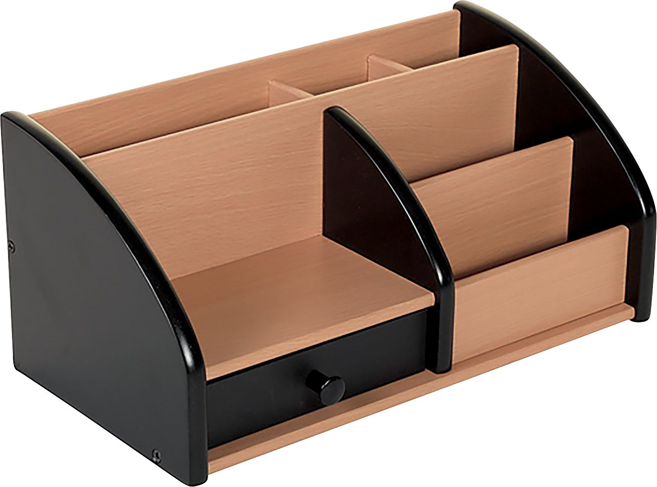 Osco Wooden Desk Organiser Black And Beech Stationary Pen Storage Holder Ebay