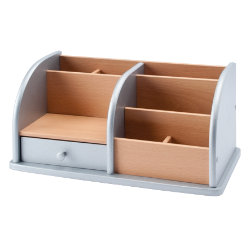 wooden desk organiser silver