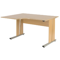 Newbury Office Environment Left Hand Ergo Desk Maple 130W x 75D x 725H cm