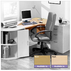Newbury Office Environment Right Hand Ergo Desk Maple 725H x 130W x 75Dcm