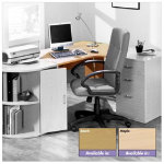 Newbury ergonomic office desk 1500mm maple effect right hand curve