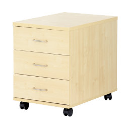 Newbury Office Environment 3 Drawer Mobile Pedestal Maple 41W x 614D x 556H cm
