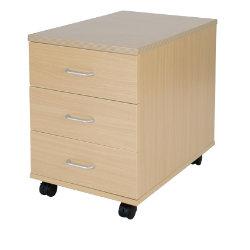 Office Depot Newbury Three-drawer mobile pedestal in oak-effect