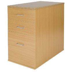 Office Depot Newbury desk-high three-drawer pedestal 600mm in oak-effect
