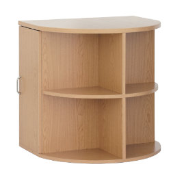 Unbranded Newbury Office furniture range radial desk end with CPU storage beech effect