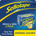 Sellotape Original Golden Clear Sticky Tape 24mm x 33m small core pack of 16
