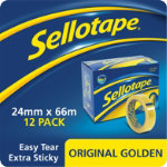 Sellotape Large Core Clear Tape 24mm x 66m Pack of 12 Rolls
