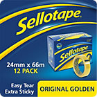 Sellotape Original Golden Clear Sticky Tape 24mm x 66m Pack Of 12