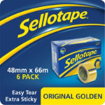 Sellotape Original Golden Clear Sticky Tape 48mm x 66m large core pack of 6