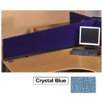 Desk mounted sloping privacy screens in crystal blue woolmix fabric 1590W x 390H x 300H mm Suitable for 160cm desk