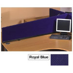 Desk mounted sloping privacy screens royal blue