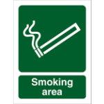 Smoking area outdoor sign