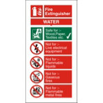 Fire Procedure Sign Water Extinguisher PVC 100 x 200 mm