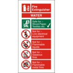 Fire Procedure Sign Water Extinguisher Photoluminescent Self Adhesive Vinyl 100 x 200 mm