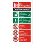 Fire Procedure Sign Co2 Extinguisher Self Adhesive Vinyl 100 x 200 mm
