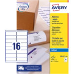 Avery Address Labels J8162 100 White 1600 Labels per pack Pack 100