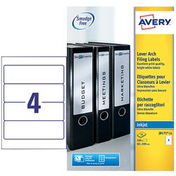 Avery Lever Arch Inkjet Labels 60mm x 200mm 100 Labels Per Box J8171 25