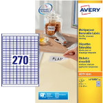 Avery 270 Per Sheet White Mini Laser Labels 10 x 178mm L4730REV 25
