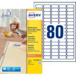 Avery 80 Per Sheet Removable Labels 356 x 169mm L4732REV 25
