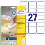 Avery 27 Per Sheet Removable Labels 635 x 296mm L4737REV 25