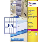 Avery Mini Address Clear Laser Labels 65 Per Sheet 212 x 381mm L7551 25